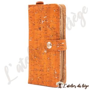 portefeuille en liege pour femme orange