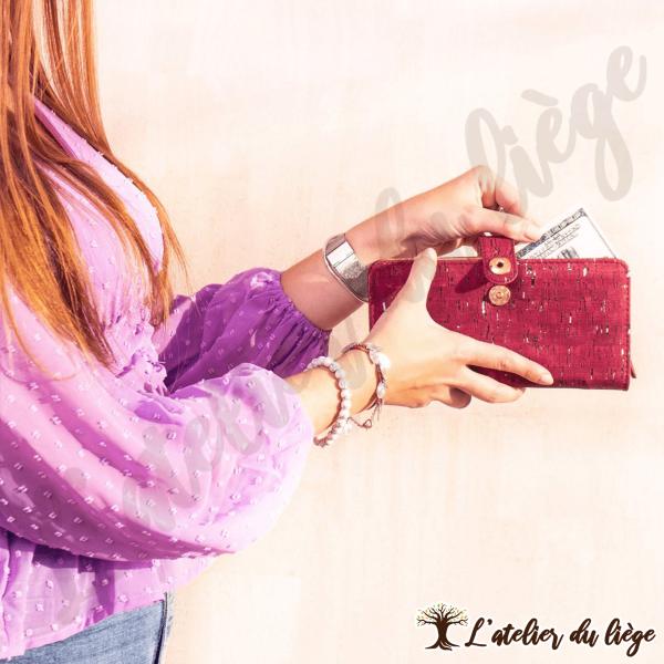 portefeuille en liege pour femme rouge