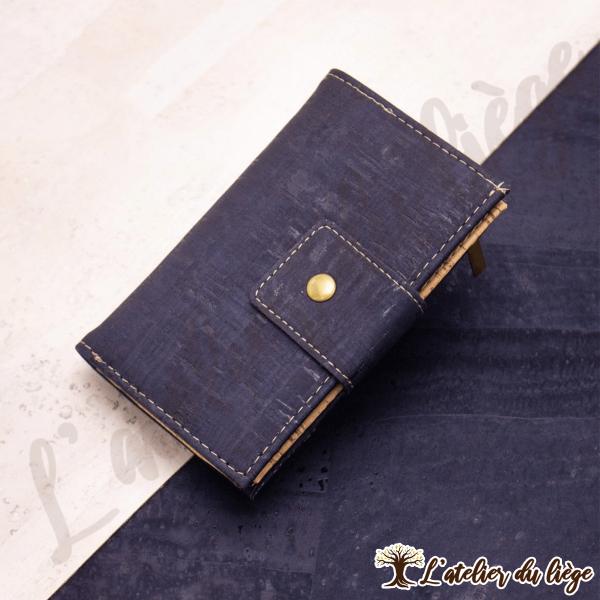 portefeuille en liege pour femme bleu marine